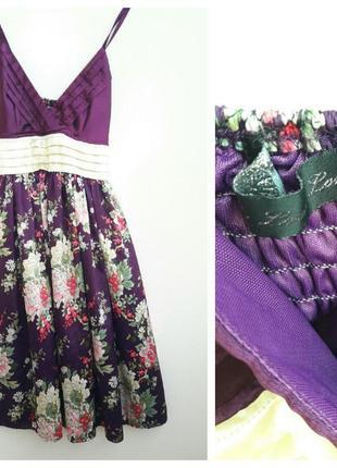 Яркое летнее платье в цветочный принт s xs#сарафан с цветами s