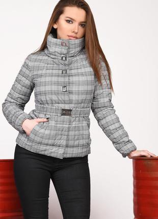 Короткая женская демисезонная курточка принт клетка р-ры 42-48...