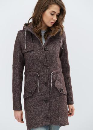 Твидовое пальто осеннее женское на пуговицах