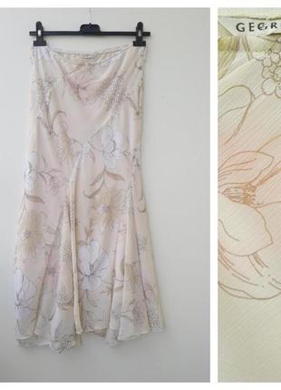 Милая юбка макси с цветами s легкая юбка в пол длинная юбка
