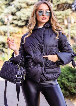 Куртка женская короткая черная фиби
