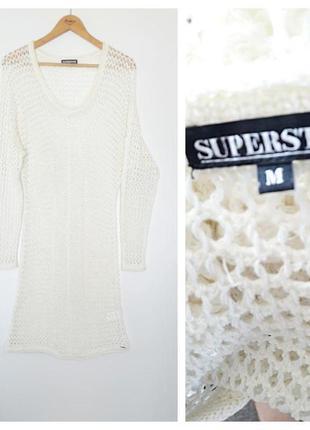 Актуальное платье-миди сетка молочного цвета от superstar