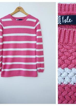 Розовая кофта свитер в полоску вязаный розовый джемпер xl