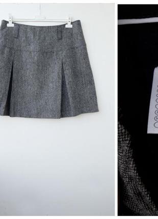 Короткая юбка теплая мини юбка в складки большой размер 4xl