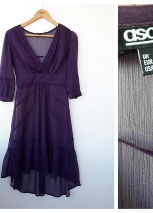 Прозрачное фиолетовое  платье легкое платье s