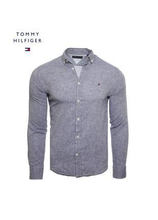 Мужская серая рубашка tommy hilfiger