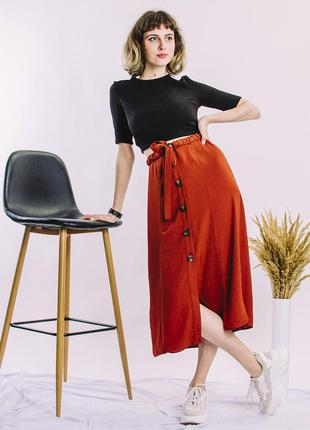 Коричневая юбка миди, весенняя юбка миди, юбка ниже колен, пов...