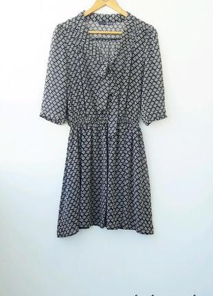 Легкое платье с галстуком  черно белое платье 12 14