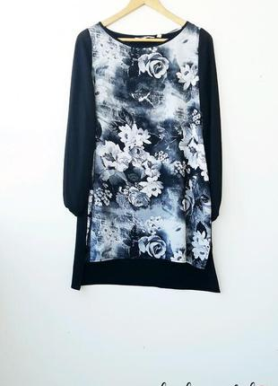 Красивое прямое платье с цветами