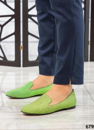 ❤ женские зеленые кожаные туфли лоферы ❤