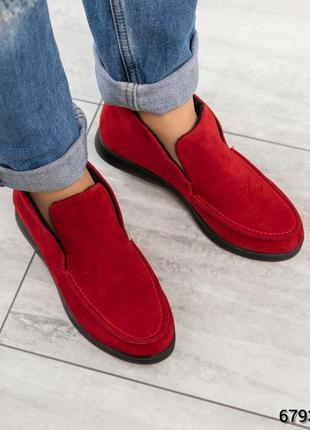 ❤ женские красные замшевые весенние деми ботинки на байке  ❤
