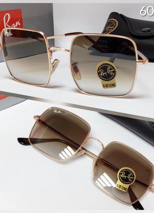 Очки коричневые прямоугольники солнцезащитные в золотой оправе