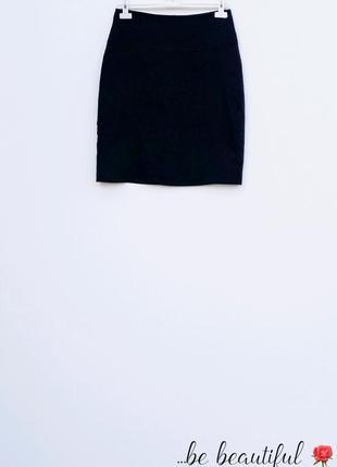 Классическая черная льняная юбка чорна льняна спідниця m 10