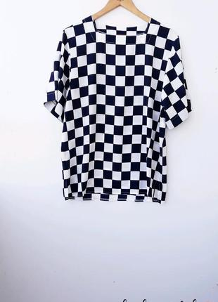 Красивая черно белая блуза блуза в клетку чорно біла блузка в ...