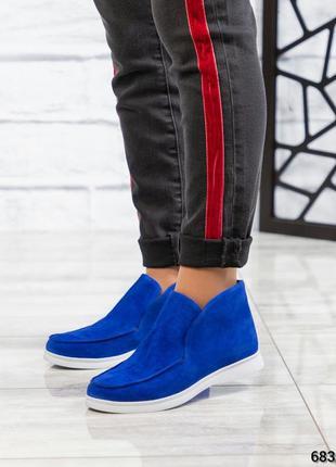 ❤ женские синие замшевые весенние деми ботинки на байке ❤