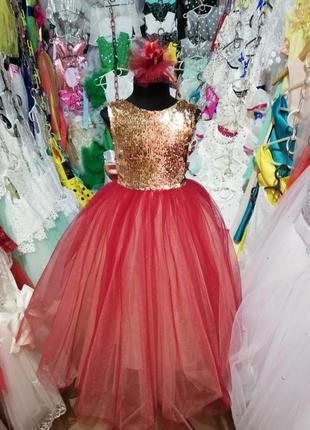 Нарядное детское платье golden red размеры 1-12лет модель 2018...