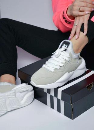 Adidas yohji yamamoto y-3 kaiwa grey white женские кроссовки а...
