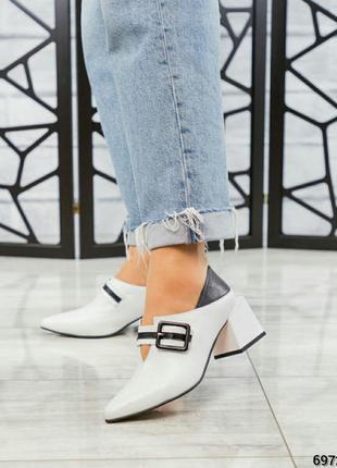 ❤ женские белые кожаные туфли на каблуке ❤