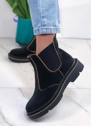 ❤ женские черные кожаные весенние демисезонные ботинки на байк...