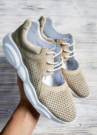 Натуральные замшевые кожаные кроссовки с перфорацией / разные ...