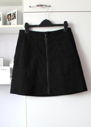 Мини юбка трапеция под замшу от new look