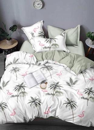 Постельный комплект фламинго пальмы алоха