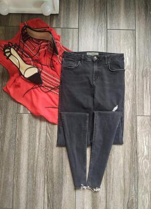 Стильные джинсы скинни с высокой посадкой талией topshop