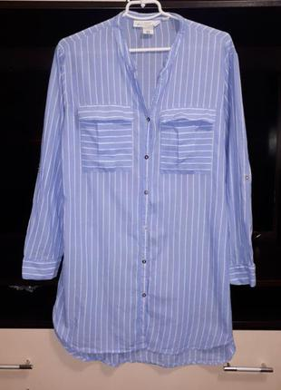 Летнее платье рубашка в полоску h&m раз.l