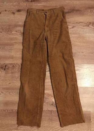 Вельветовые брюки с высокой талией и необработанным краем