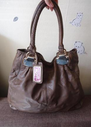 Большая кожаная сумка шопер