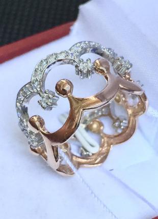 Новое родированое серебряное двойное кольцо фианиты позолота с...