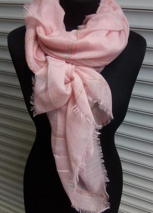 Лёгкий шарф нежно розовый клетка