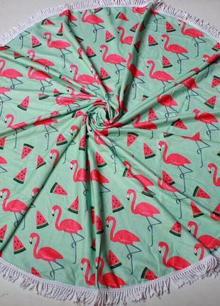 Пляжное полотенце плед круглое с фламинго