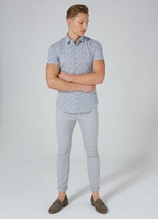 Рубашка topman white and blue floral , muscle fit !