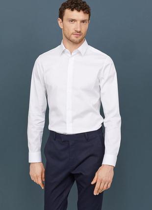 Стрейчевая рубашка h&m , slim fit !