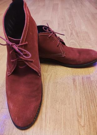 Мужские ботинки красные демисезонные осень весна кожа замшевые...