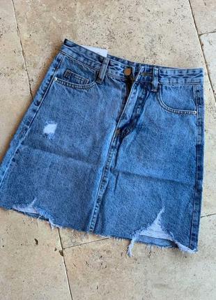 Юбка джинсовая рваная