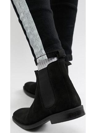 Черные ботинки челси полусапожки замшевые полусапожки низкий к...