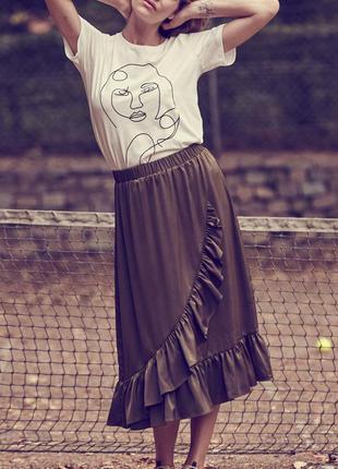 Модная свободная юбка с оборками размер хс,с,м