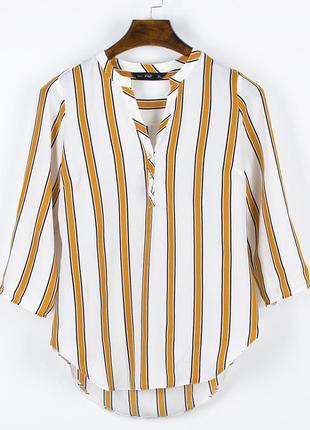 Белая блузка в полоску, полосатая блузка, белая рубашка в поло...