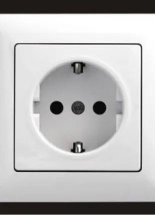 Розетка с заземлением Gunsan Visage белый VS 28 11 115