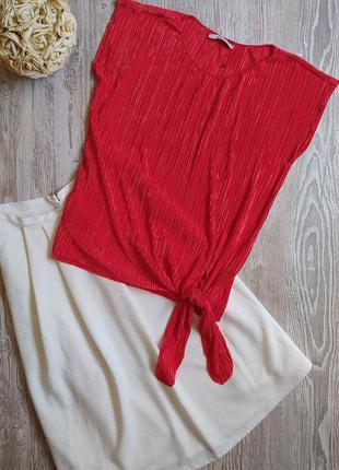 Яркая блузка в мелкую плиссировку george размер 18-20