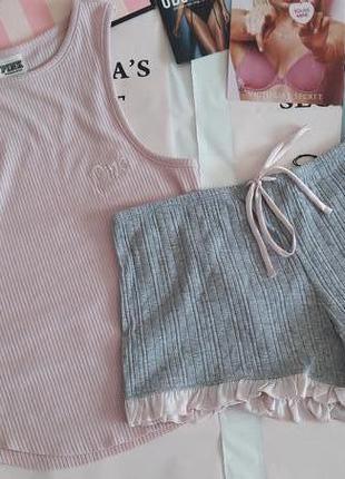 Домашняя одежда пижамка майка шорты victorias secret