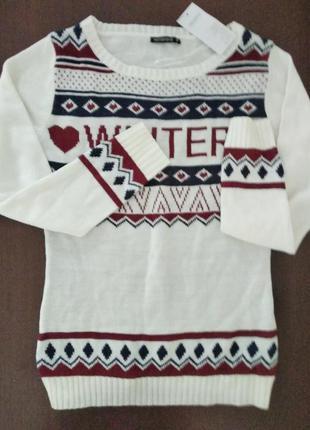 Джемпер terranova,свитер с орнаментом,молодежная одежда