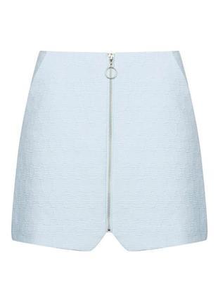 Нежно-голубая юбка на молнии спереди topshop блакитна спідниця...