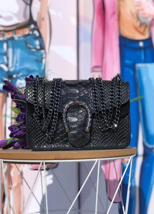 Кожаная сумочка в стиле gucci чёрная