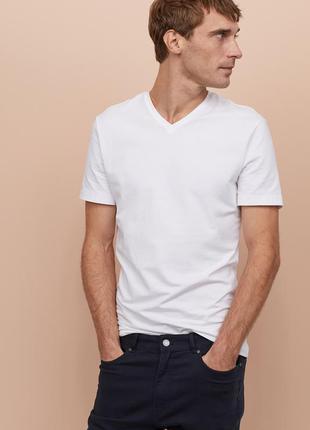 Белая футболка h&m , slim fit !