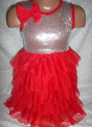 Платье на девочку красное 3-4г