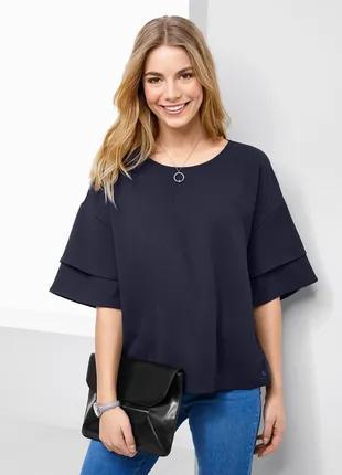 Стильная рубашка с тканой вставкой от Tchibo. Р. 35/38 евро-40/42