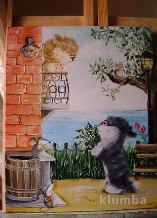 Картина маслом Закохані котики 40*50